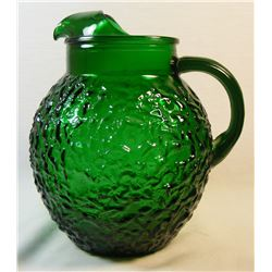 Vintage Anchor Hocking Emerald Forest Green Lido Milano Ice Lip Pitcher