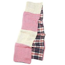 Pink & Ivory / 100% Acrylic / Double Side Muffler: Two Tone & Check Pattern