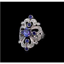 1.42 ctw Tanzanite, Sapphire and Diamond Ring - 14KT White Gold
