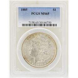 1885 $1 Morgan Silver Dollar Coin PCGS MS65