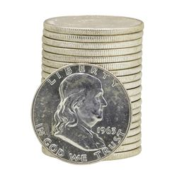 Roll of (20) 1963-D Brilliant Uncirculated Franklin Half Dollars