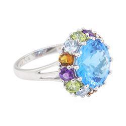 8.16 ctw Multi-Color Semi-Precious Gemstone Ring - 14KT White Gold