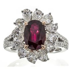 3.06 ctw Ruby and Diamond Ring - 18KT Two-Tone Gold