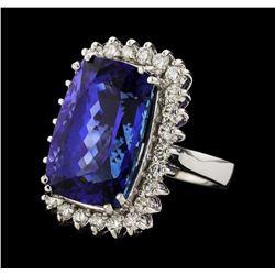 20.39 ctw Tanzanite and Diamond Ring - 14KT White Gold