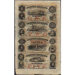 Uncut Sheet of 1857 Western Exchange Fire & Marine Insurance Co. Obsolete Notes