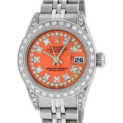 Rolex Ladies Stainless Steel Quickset Orange String Diamond Lugs Datejust Wristw