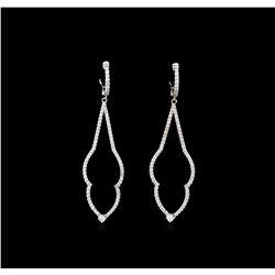1.17 ctw Diamond Earrings - 14KT White Gold