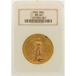 1924 $20 St. Gaudens Double Eagle Gold Coin NGC MS64