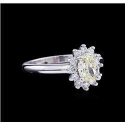1.37 ctw Fancy Light Yellow Diamond Ring - 14KT White Gold