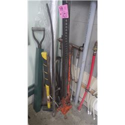 "LOT OF 48""JACKALL-ALL, SLEDGE HAMMER, CROWBAR PLUS MISC ITEMS"