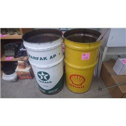 2 COLLECTIBLE TEXACO AND SHELL GREASE BARRELS