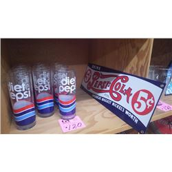 10 DIET PEPSI GLASSES AND 5 CENT PEPSI COLA PORCELAIN SIGN (ANDE ROONEY REPRODUCTION USA)