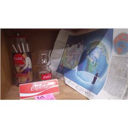 REPRO COCA-COLA STRAW DISPENSER, COCA-COLA GLASSES PLUS 5 COCA-COLA  BOOK COVERS