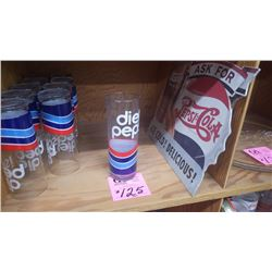 10 PEPSI-COLA DIET PEPSI GLASSES AND PEPSI-COLA (1991) CARBOARD SIGN