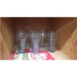 7 RIPPLE COCA-COLA GLASSES PLUS 6 FOR 41 CENT CARBOARD BOTTLE CARRIER 6 PACK (GOOD CONDITION)