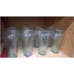 8 COCA-COLA GLASSES (DIMPLED) WITH M ETAL SERVING TRAY (VICTORIA LADY WITH CORSAGE)