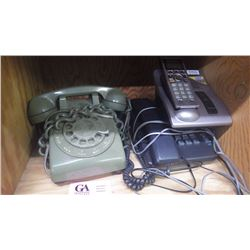 VINTAGE ROTARY DIAL DESK PHONE, CORDLESS PHONE PLUS NEWER DESK PHONE PLUS FIRST AID KIT, ROOT BEER K