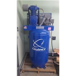1 QUINCY 5 H.P. 2 STAGE H.D. 80 GALLON INDUSTRIAL CAST IRON COMPRESSOR (LIKE NEW CONDITION)