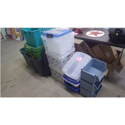 1 LOT OF 21 ASSORTED TUBS AND TOTES