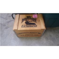 """1 ANHEUSER-BUSCH INC 10TH ANNIVERSARY """"ROCKY MOUNTAIN ELK FOUNDATION"""" WOODEN CRATE WITH ASSORTED VHS"""