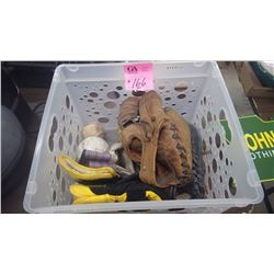 1 CRATE WITH 3 ASSORTED BALL GLOVES, SOFT AND HARD BALLS, ASSORTED WORK GLOVES