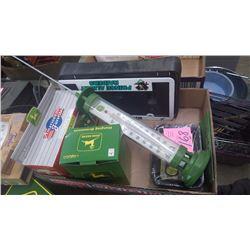 1 BOX J.D. HANGING ORNAMENTS, J.D. SALT AND PEPPER SHAKER, CHANGE TRAYS, PLUS SOLAR TEMPERATURE GAUG