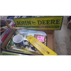 1 BOX COLLECTION OF J.D. COASTERS, COFFEE MUG, PLUS 1960'S THERMOMETRE