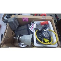 1 BOX WITH ELECTRIC LIGHT FIXTURES, TAPE MEASURE PLUS ANTIQUE DRIVE-IN THEATRE SPEAKER