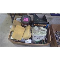 1 LARGE LOT OF PAINTING SUPPLIES, PAINT, THINNERS, ETC.
