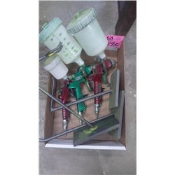 1 BOX WITH 3 VARIOUS SIZE HVLP GRAVITY FLOW PAINT GUNS AND STANDS