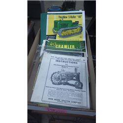 TRAY WITH JD PAMPHLETS INTRODUCING 10 SERIES TRACTORS 40 CRAWLER AND JD MODEL A