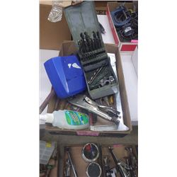 TRAY WITH DRILL INDEX AND DRILLS, HACK SAWS, TIN SNIPS, VICE GRIP, TAPE MEASURE ETC.