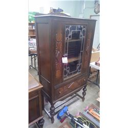 WALLNUT GLASS DOOR CHINA CABINET WITH DRAWER INLAID DESIGN MATCHES ITEM 223
