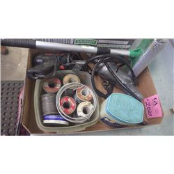 "TRAY WITH SOLDERING IRON, 1/4"" DRILL, WINDOW WASHER AND BOX OF SOLDER"
