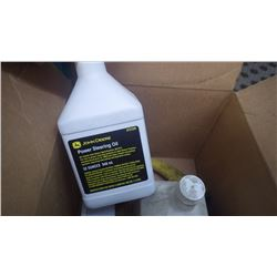 CASE OF JD UNOPENED JUGS OF POWER STEERING FLUID PLUS FUNNELS