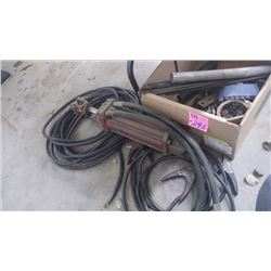 HYDRAULIC RAM, BOX ASSORTED NUTS AND BOLTS, HD ELECTRICAL CORD, PLUS BOOSTER CABLES