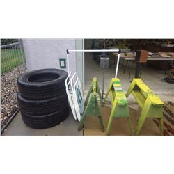 3 USED GOODYEAR TIRES 275-60-R20 TWO FOLDING LAWN CHAIRS, PAINTING RACK, 3 WOOD SAW HORSES, PLUS JD