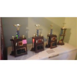 FOUR LARGE TROPHY AND 3 PAQUES FROM DRAGONS ROD AND CUSTOM CAR SHOW