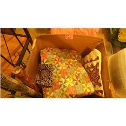 CORNER WROUGHT IRON STAND PLUS LEE BOX WITH PATCHWORK QUILT, BLANKETS, PILLOWS, MEXICAN BLANKET, ETC