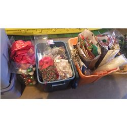 FOUR TUBS OF VARIETY XMAS WRAP, GIFT BAGS, ORNAMENTS, BASKET WITH LIGHTS, WREATH AND DECORATIONS PLU