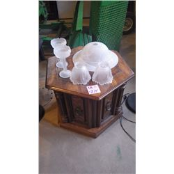 PLASTIC STAND, GLASS CANISTERS, FLOOR LAMP, HEXAGON END TABLE PLUS GLOBES
