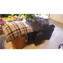 3 PIECE LUGGAGE SET (AIR CANADA), COLLAPSABLE STORAGE CONTAINERS, PLUS BASKET WITH CHAIR CUSHIONS