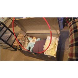 METAL STEAMER TRUNK WITH INFANTS SIWASH SWEATER, BABY BLANKETS, CABBAGE PATCH DOLL AND CLOTHES PLUS