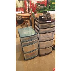 5 DRAWER PLASTIC CABINET PLUS 4 DRAWER PLASTIC CABINET WITH FEW OFFICE SUPPLIES