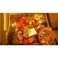 BOX OF CHILDRENS PAINT SUPPLIES, CRAYONS, KEN AND BARBIE DOLLS WITH A FEW PIECES OF CLOTHING, BOOKS,