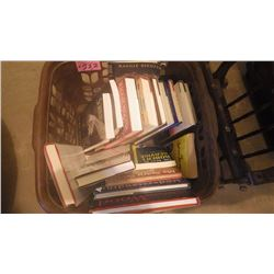 BASKET WITH HARD COVER AND SOFT COVER VARIETY OF BOOKS INCLUDES MAGGIE SIGGINS, THE WEALTHY BARBER,