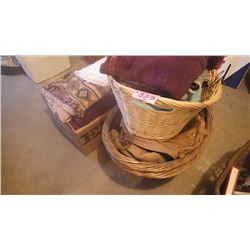 3 WICKER BASKETS WITH WINTER COVERALLS, VARIOUS BLANKETS PLUS BOX OF VARIETY OF SCATTER RUGS