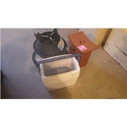 2 COOLERS, 2 XMAS TREE STANDS AND EXERCISE BALL