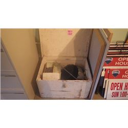 BOX WITH ICE FISHING EQUIPMENT:  HEATER, FRY PAN, GRATES AND SMALL PROPANE TANK
