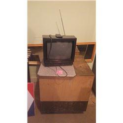"14"" TOSHIBA PORTABLE TV, WOOD BOX ON WHEELS, CUTTING BOARD AND WALL MIRROR"